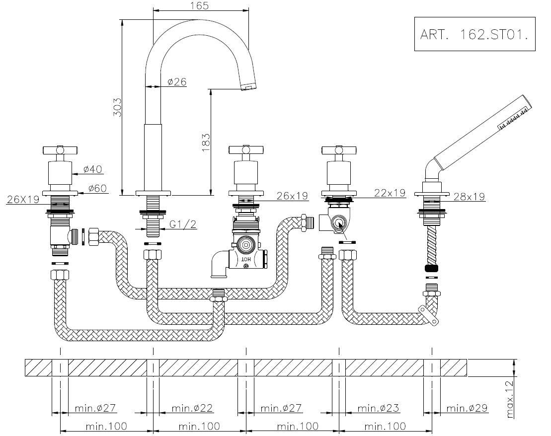 Huber suite mitigeur thermostatique 5 trous pour montage sur gorge 162st01hcr - Robinetterie sur gorge ...