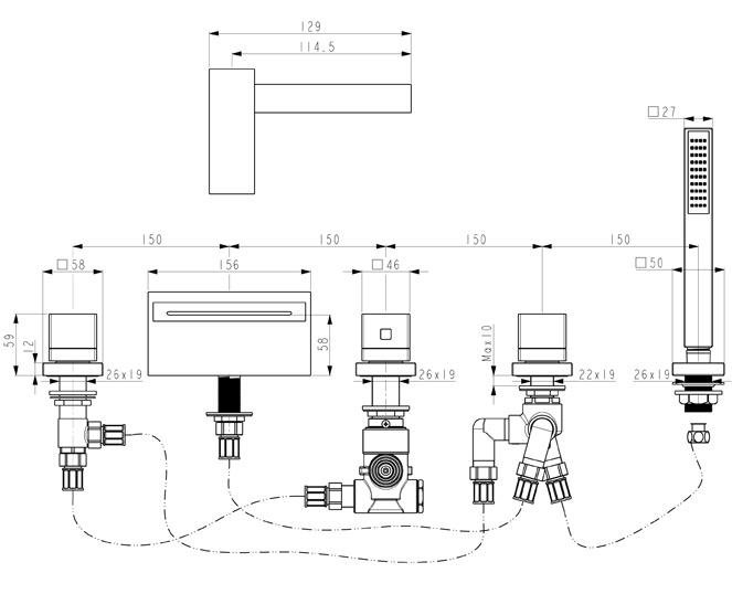 huber ego mitigeur thermostatique 5 trous de bain douche pour montage sur gorge 162eg01hcr chorme. Black Bedroom Furniture Sets. Home Design Ideas