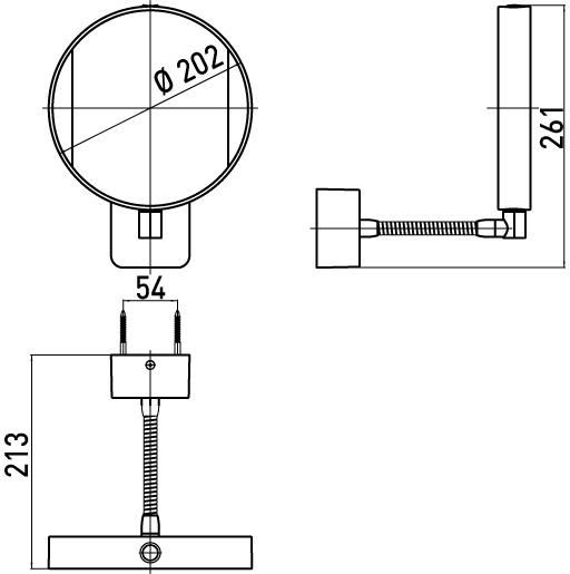 Emco miroir rond 26 cm bras flexible avec led 109500111 chrome for Miroir flexible
