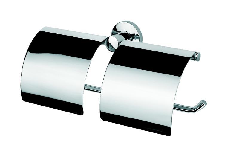 Geesa serie 100 porte rouleau de papier toilette double avec couvercle 148 chrome - Porte rouleau papier toilette design ...