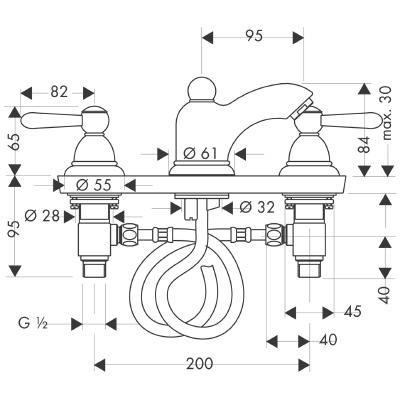 axor carlton m langeur lave mains 3 trous poign es manettes 17125000. Black Bedroom Furniture Sets. Home Design Ideas