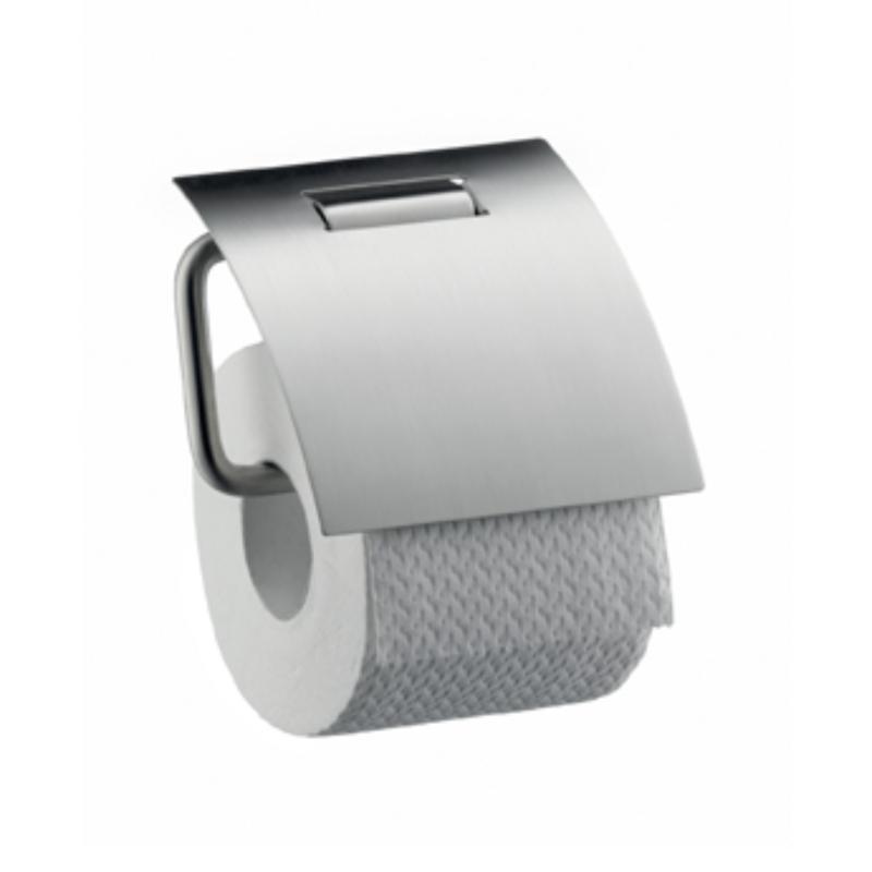 axor steel porte rouleau de papier toilette avec couvercle 41838800 look inox. Black Bedroom Furniture Sets. Home Design Ideas