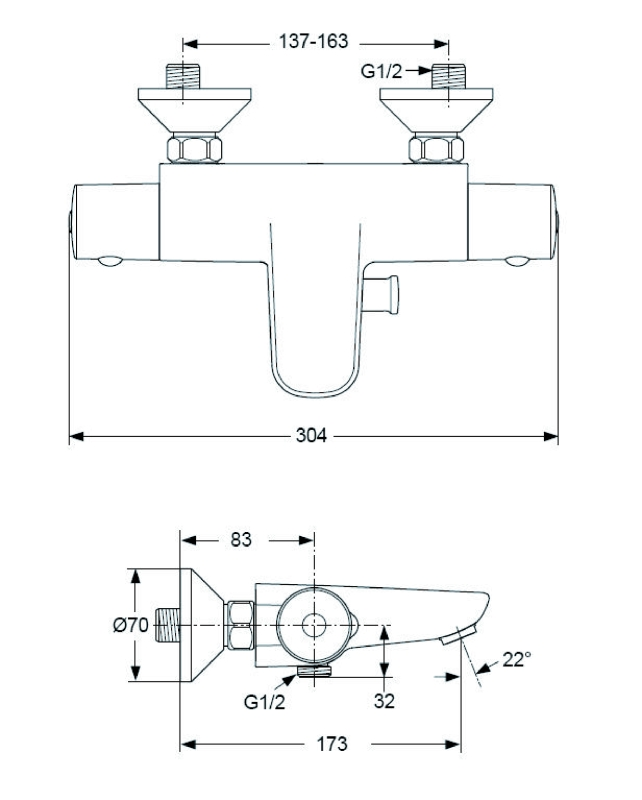 ideal standard ceratherm 50 mitigeur thermostatique de bain douche a5550aa chrome. Black Bedroom Furniture Sets. Home Design Ideas