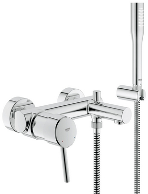 grohe concetto mitigeur mural de bain douche avec set de douche 32212001 chrome. Black Bedroom Furniture Sets. Home Design Ideas