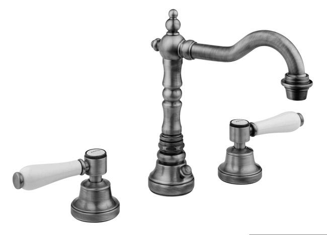 Robinetterie Rétro mélangeur rétro 3 trous de lavabo Vieux bronze D ...