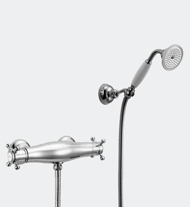 huber victorian mitigeur thermostatique de douche avec douche main 191vt01hba bronze. Black Bedroom Furniture Sets. Home Design Ideas