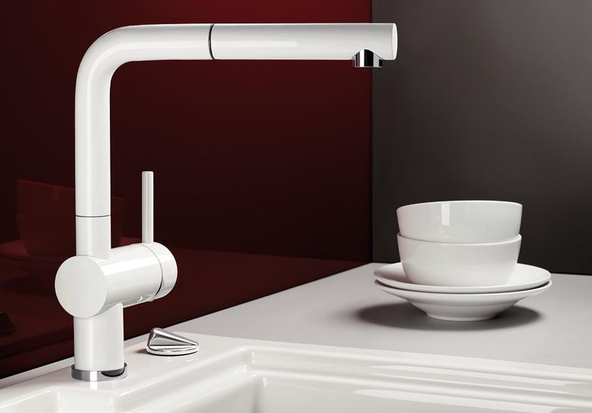 Blanco linus s mitigeur d 39 vier douchette c ramique blanche mat 516 711 - Douchette d evier de cuisine ...