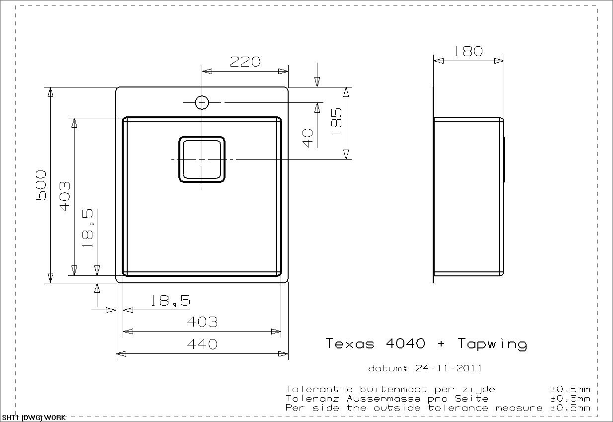 Wasbak Keuken Afmetingen : R?ginox Texas 40×40 Tap Wing ?vier 1 cuve pour montage affleurant