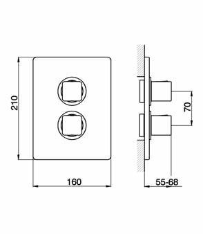 Cisal cubic fa ade seule pour mitigeur thermostatique de - Mitigeur thermostatique douche fonctionnement ...