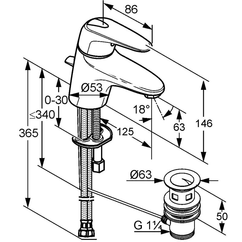 kludi objekta mix new mitigeur de lavabo avec vidage. Black Bedroom Furniture Sets. Home Design Ideas