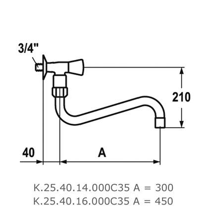 kwc gastro robinet mural une seule eau bec 300mm pour grande cuisine chrome. Black Bedroom Furniture Sets. Home Design Ideas