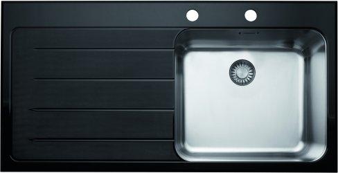 franke epos vier 1 cuve et gouttoir encastrer par le haut eov611whl1 inox verre. Black Bedroom Furniture Sets. Home Design Ideas