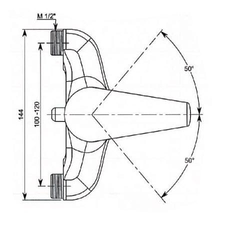 delabie mitigeur universel de douche entraxe r glable 100 120mm 2312 chrome. Black Bedroom Furniture Sets. Home Design Ideas