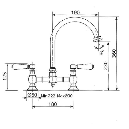 robinetterie r tro m langeur d 39 vier 2 trous bec vieux bronze v1977vb. Black Bedroom Furniture Sets. Home Design Ideas